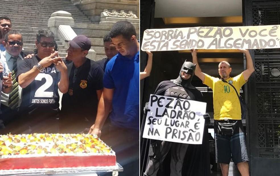 Servidores servem bolo na porta da Alerj após prisão de Pezão — Foto: Alba Valéria Mendonça/G1; Cristina Boeckel/G1