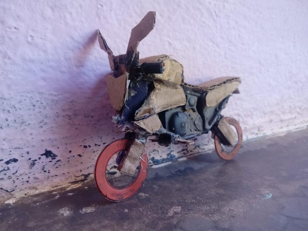 Brinquedo construído pelo Samuel, de oito anos — Foto: Genivaldo de Sousa/Arquivo Pessoal