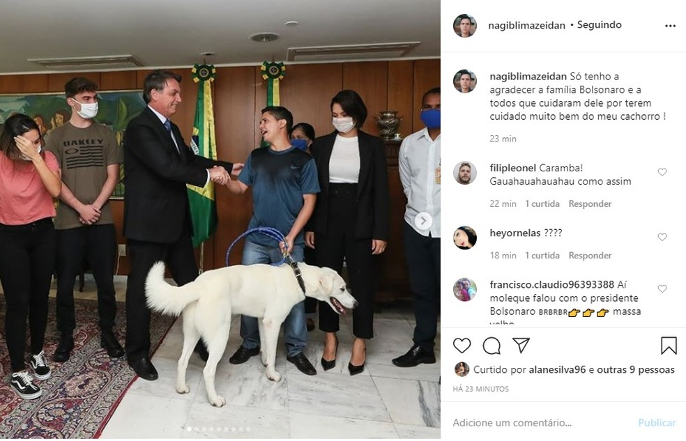 Nagib Lima Zeidan agradece família Bolsonaro — Foto: Instagram/Reprodução