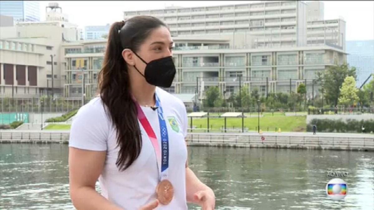 'Não desistir nunca', diz Mayra Aguiar, medalhista de bronze nas Olimpíadas de Tóquio