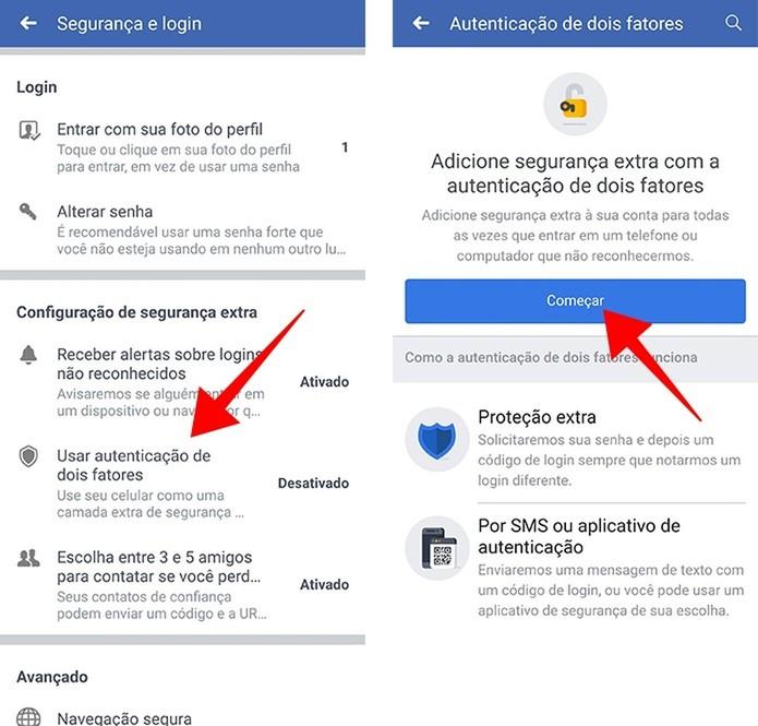 Inicie a configuração da verificação em duas etapas pelo celular (Foto: Reprodução/Paulo Alves)