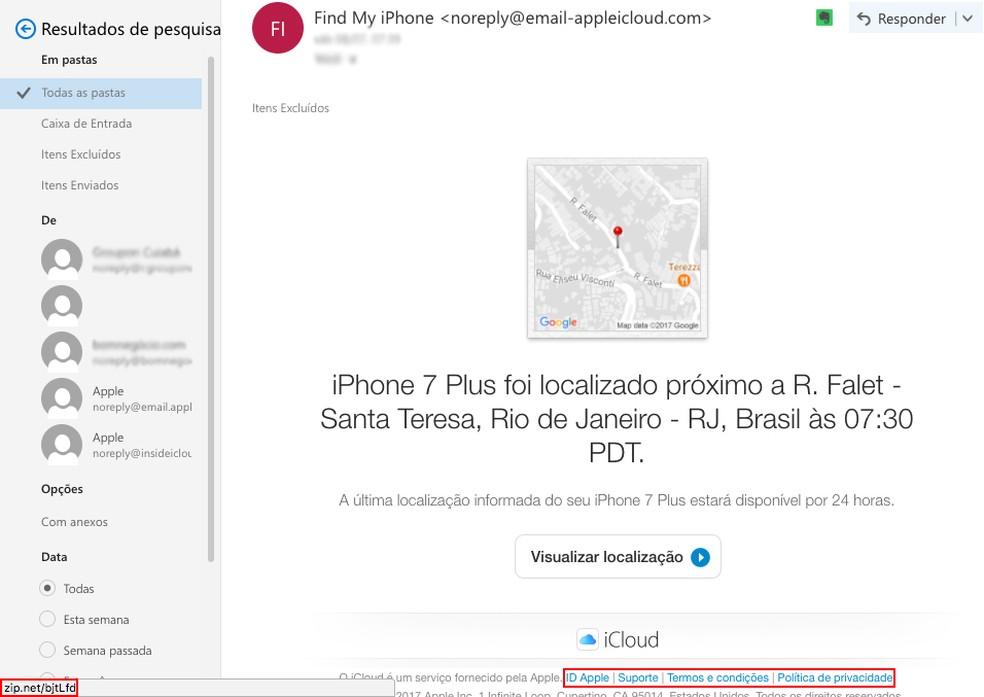 E-mail falso usa o nome da Apple para aplicar golpes (Foto: Reprodução/Anna Kellen Bull)