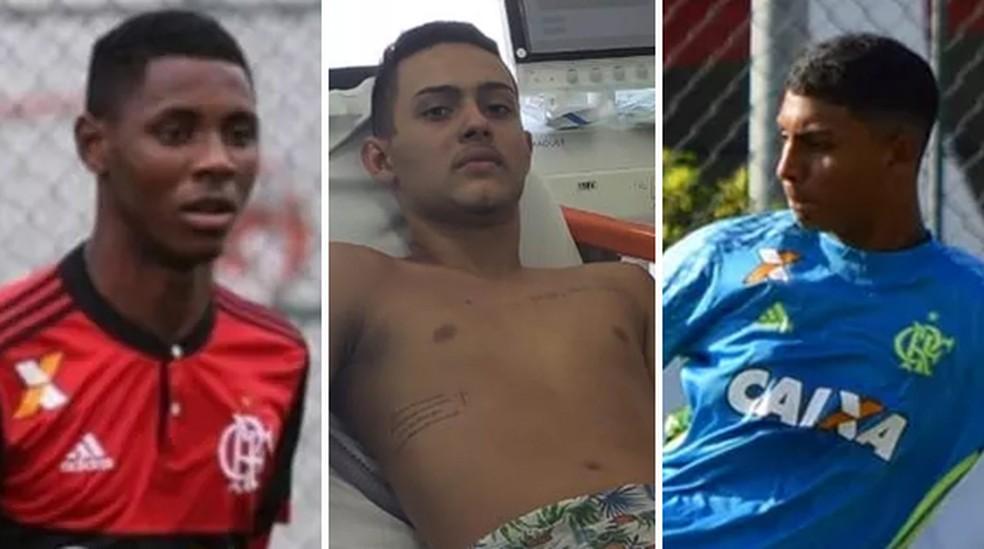 Os três feridos no incêndio no CT do Flamengo — Foto: Montagem G1