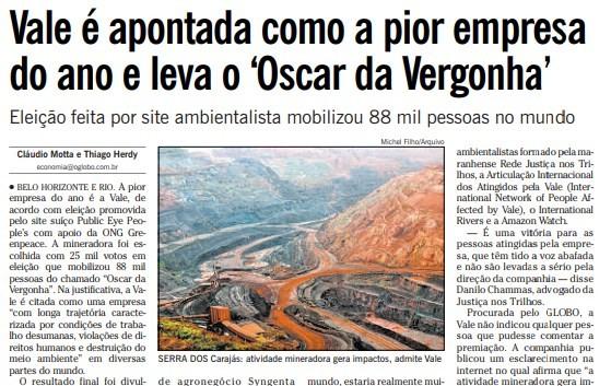 Página do GLOBO de 28 de fevereiro de 2012