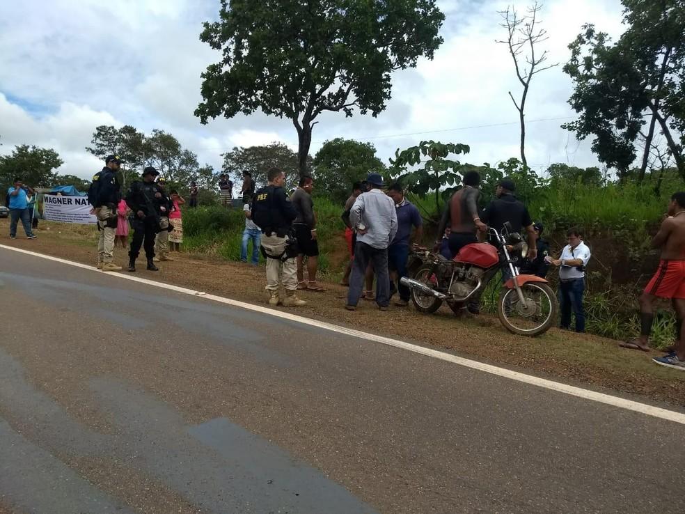 Reconstituição da morte de indígena — Foto: PRF/ Assessoria