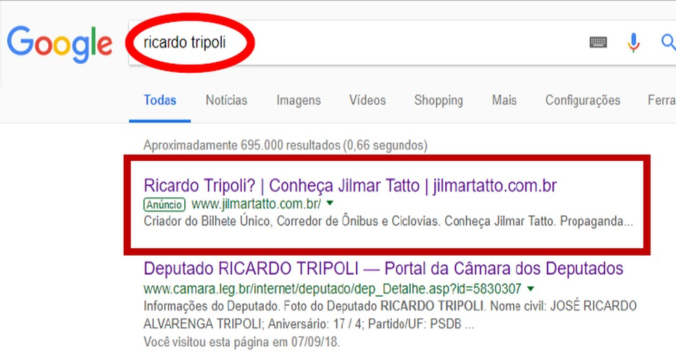 Anúncio pago por Jilmar Tatto (PT) no Google era direcionado para quem buscava nome de adversários na eleição para o Senado como Ricardo Tripoli (PSDB) — Foto: Reprodução / Google