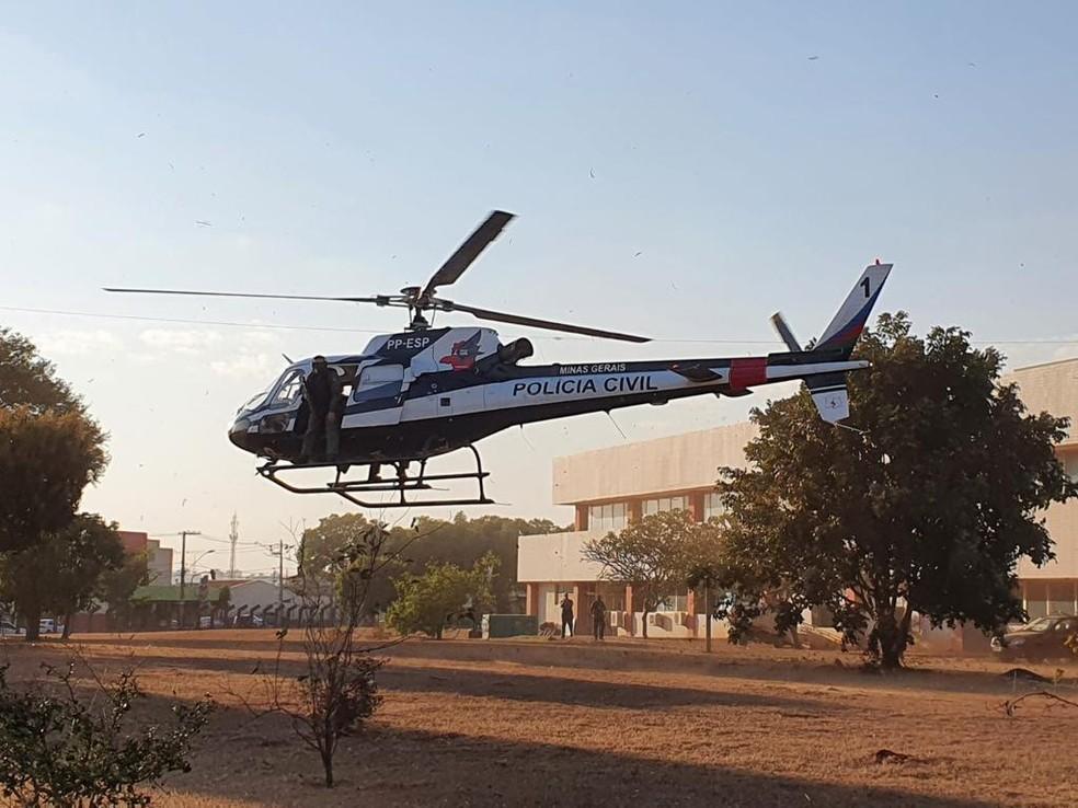 Aeronave da Polícia Civil deu apoio à Operação 'Diamante de vidro' nesta terça-feira (17) — Foto: Gaeco/Divulgação