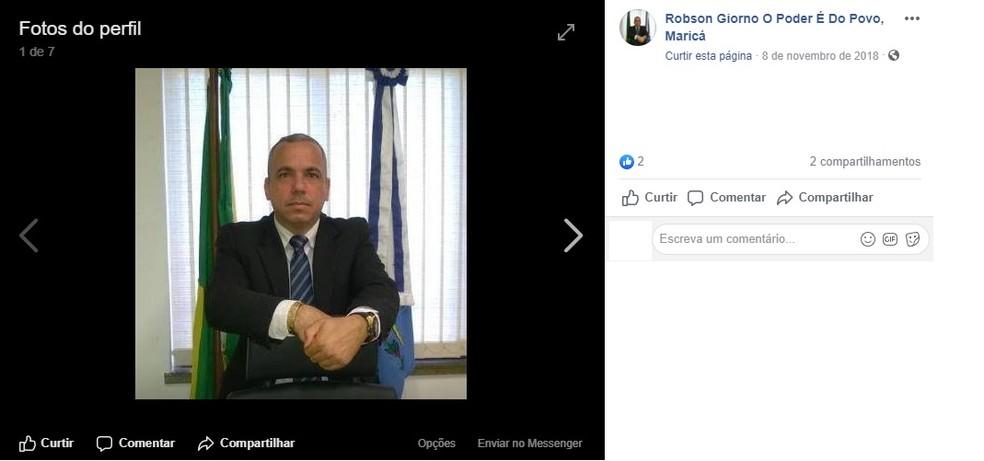 Robson Giorno era dono do jornal O Maricá e pretendia ser candidato a prefeito nas eleições municipais do ano que vem — Foto: Reprodução/Facebook
