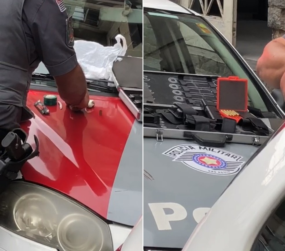 Dentro do carro do empresário, policiais localizaram drogas e armamento em Santos, SP (Foto: G1 Santos)