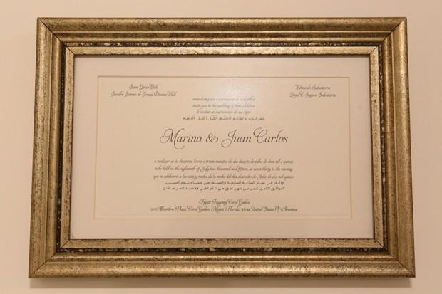 Convite de casamento de Marina Elali e Juan Carlos (Foto: Reginaldo Teixeira / Ed. Globo)