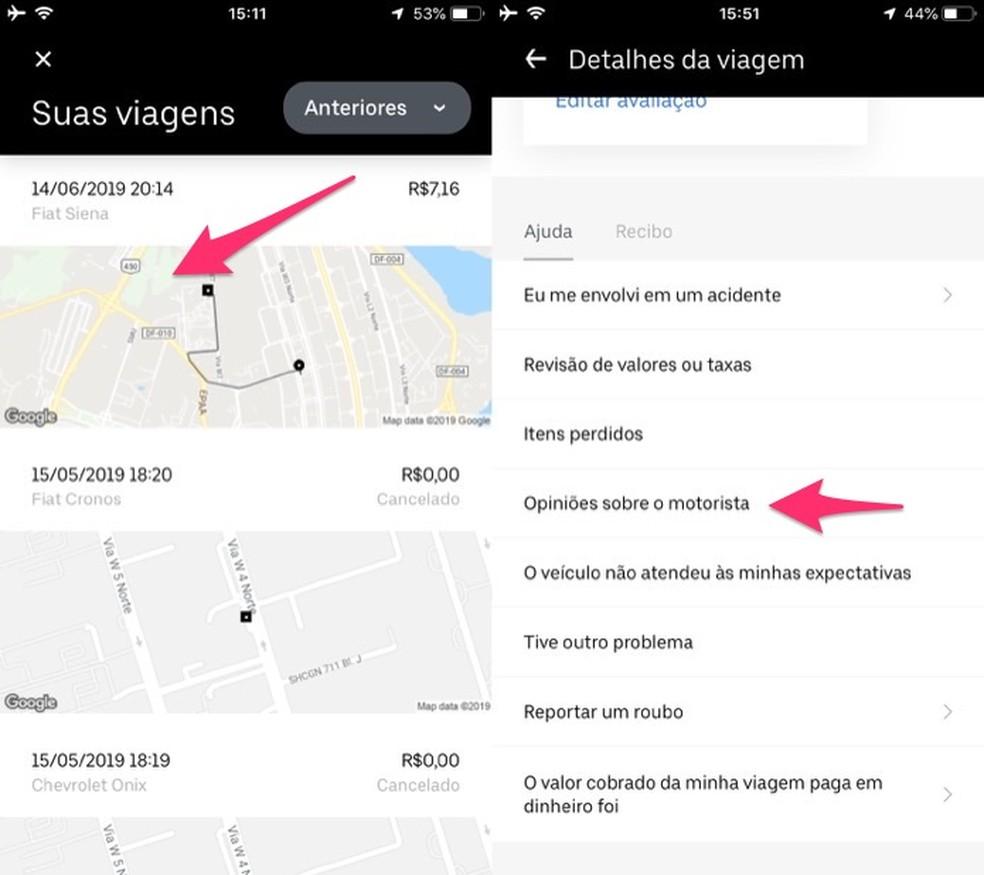 Ação para acessar a página para opiniar sobre a atividade de um motorista do Uber — Foto: Reprodução/Marvin Costa