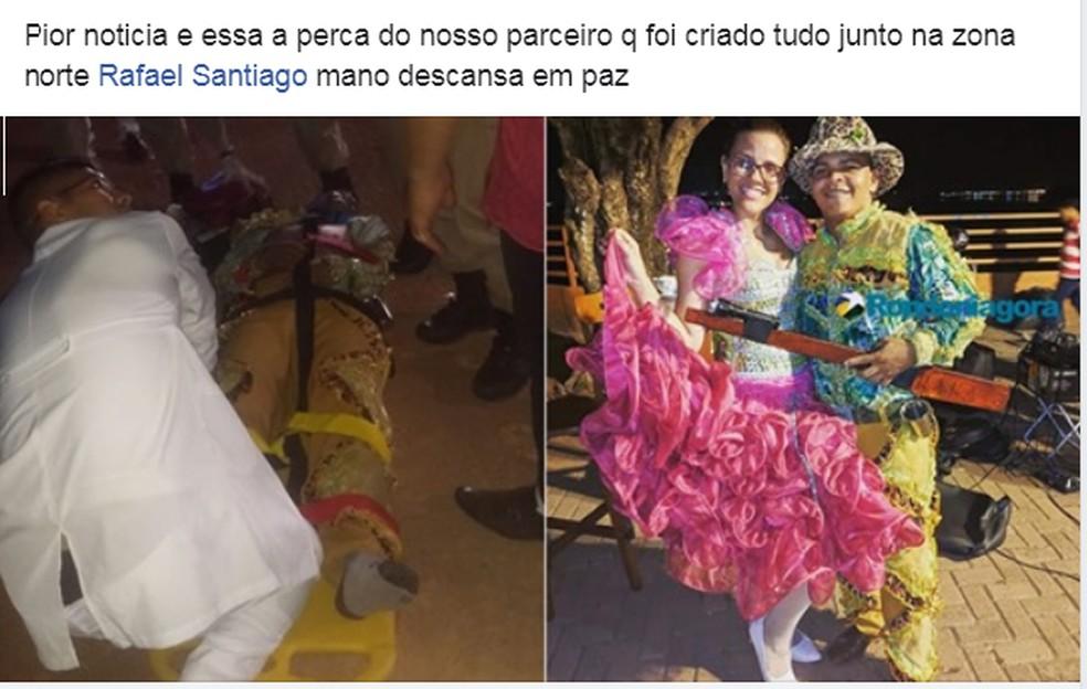Rafael Santiago morreu durante arraial Flor do Maracujá  — Foto: Reprodução/ Facebook