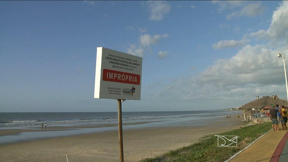 Todas as praias de São Luís estão impróprias ao banho  — Foto: Reprodução/TV Mirante