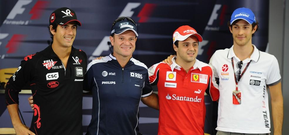 Di Grassi, Barrichello, Massa e Senna representaram Brasil em 2010 — Foto: Getty Images