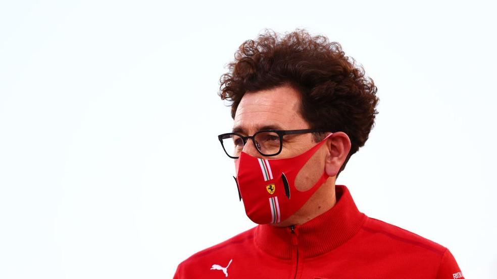 Mattia Binotto, chefe da Ferrari, no GP do Bahrein da F1 2021 — Foto: Dan Istitene - Formula 1/Formula 1 via Getty Images