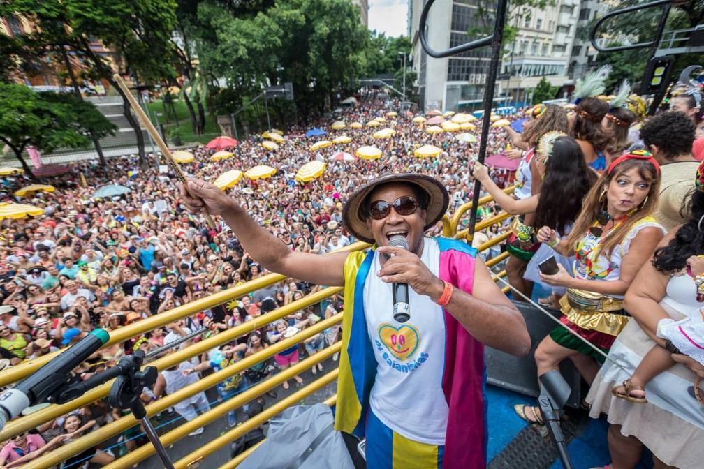 Geovanne Sassá no bloco Baianas Ozadas — Foto: Netun Lima/Baianas Ozadas