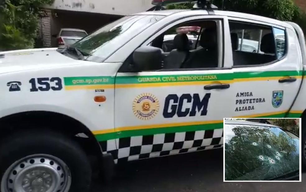 Viatura da GCM foi alvo de tiros no Parque do Ibirapuera (Foto: Reprodução)