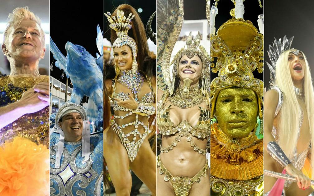 Da esquerda para a direita: Unidos da Tijuca, Portela, União da Ilha, Salgueiro, Imperatriz Leopoldinense e Beija-flor (Foto: Marcos Serra Lima e Alexandre Durão/G1)