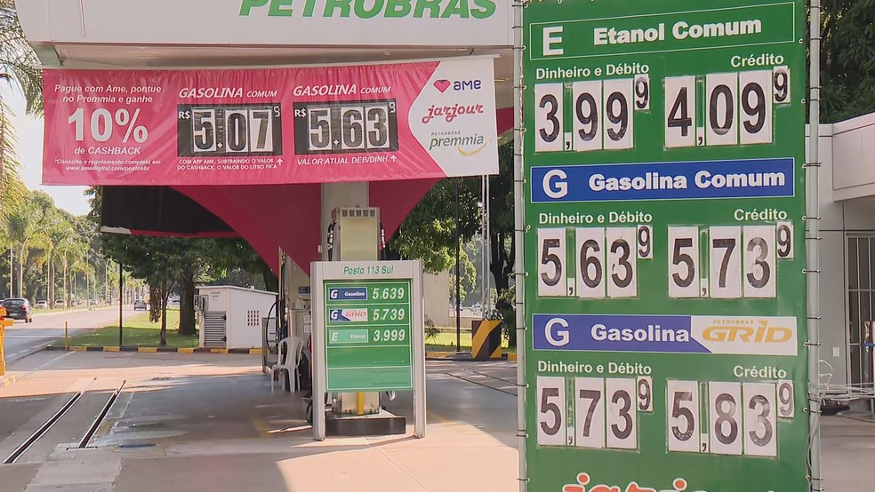 Posto de combustível no Distrito Federal — Foto: TV Globo/Reprodução