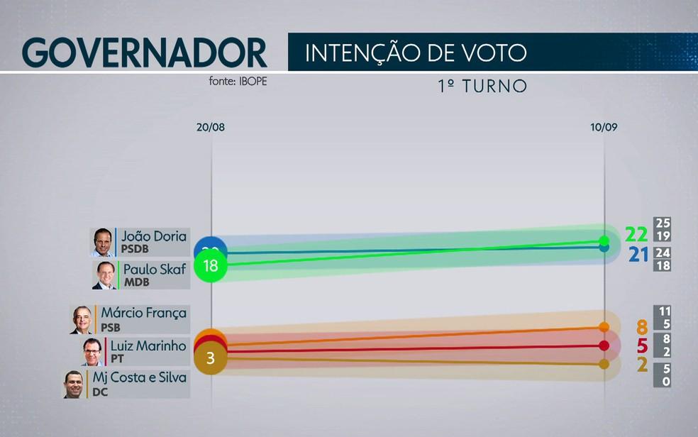 Pesquisa Ibope de intenção de votos para governo de São Paulo (Foto: TV Globo/Reprodução)