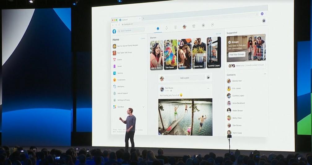 Zuckerberg apresenta novo visual do Facebook, que muda agora no app e ainda neste ano no site — Foto: Reprodução/Facebook