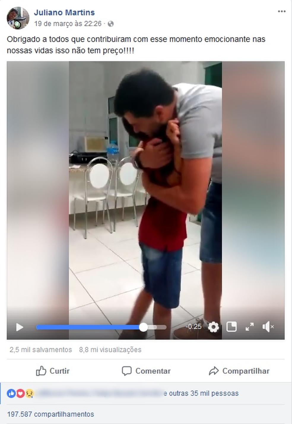 Vídeo de menino recebendo aparelho auditivo viralizou nas redes sociais (Foto: Reprodução/Facebook)