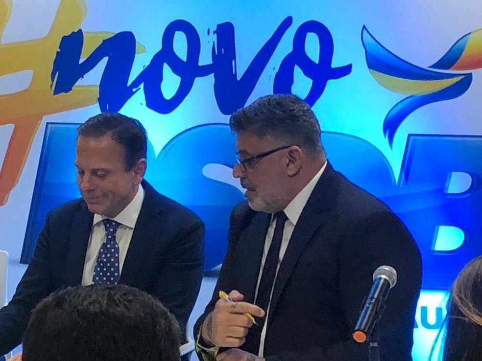 João Doria anuncia filiação de Alexandre Frota ao PSDB — Foto: Beatriz Magalhães/G1