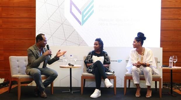 Maurício Pestana, Monique Hevelle e Alexandra Loras durante o FICE 2018 (Foto: Alexandre Dipaula)