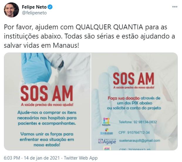 Felipe Neto ajuda na campanha para compra de cilindros de oxigênio para hospitais de Manaus (Foto: Reprodução/Twitter)