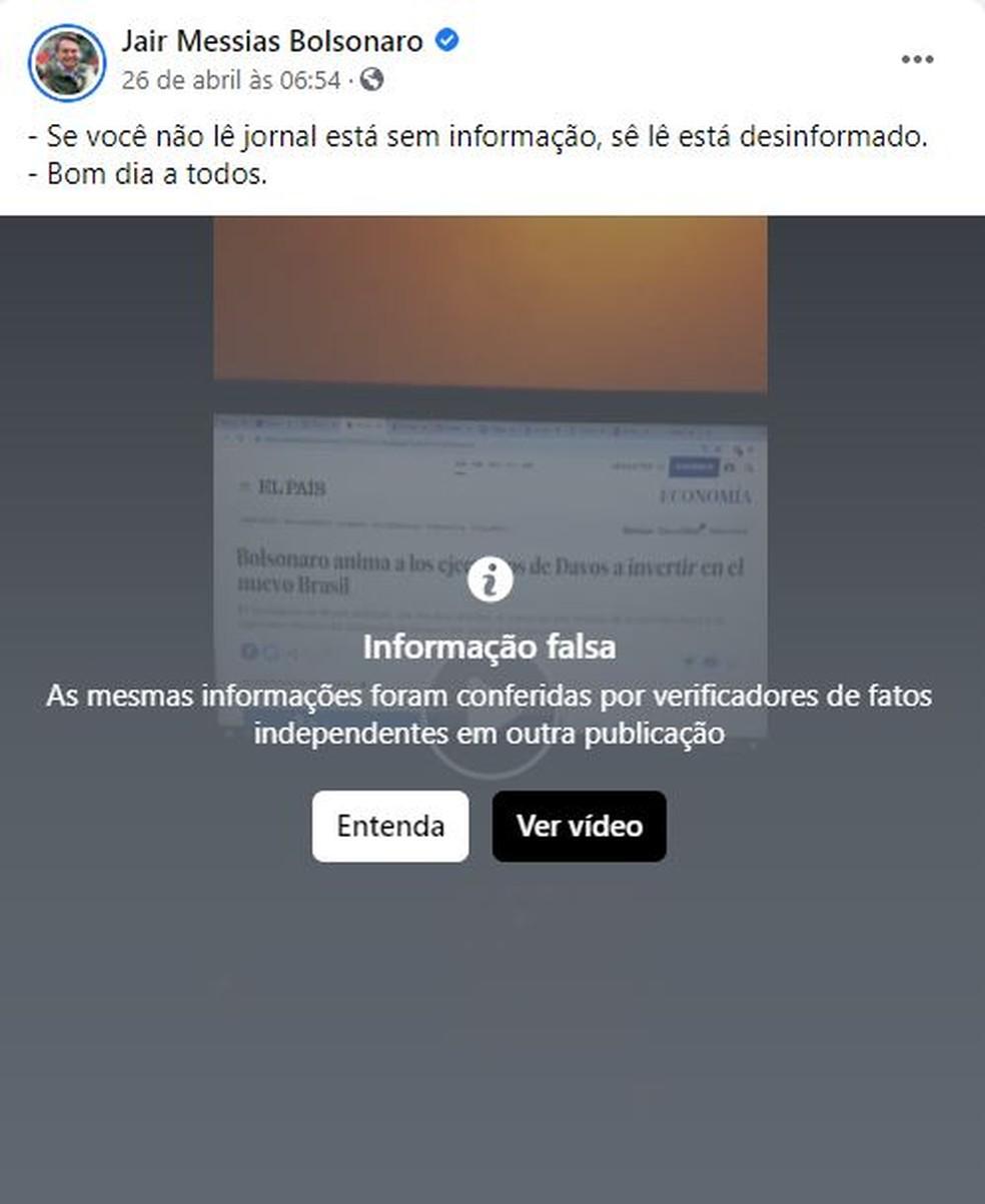 Publicação do presidente Jair Bolsonaro no Facebook foi classificada como 'informação falsa'. — Foto: Reprodução/Redes Sociais