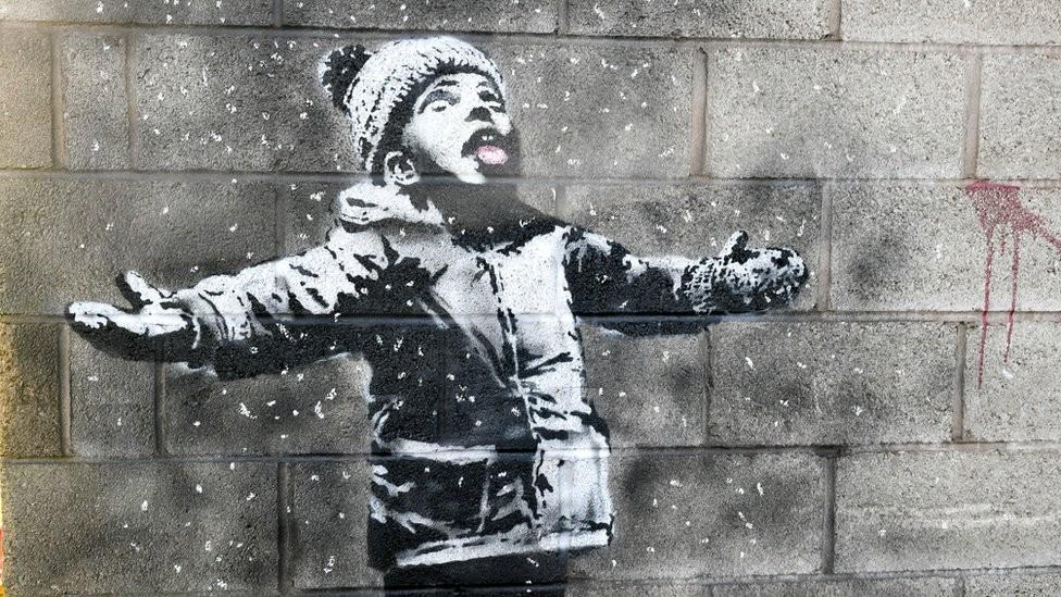 Obra de Banksy em garagem do País de Gales é vendida por mais de R$ 485 mil - Noticias