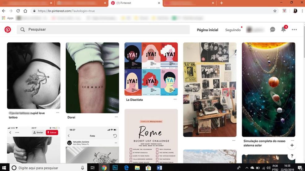 O Pinterest é a rede social ideal para quem busca por inspirações artísticas. — Foto: Reprodução/Gabrielle Ferreira