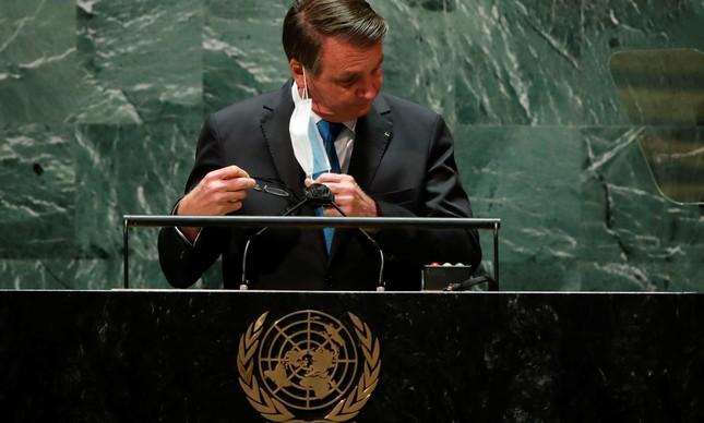 Jair Bolsonaro em discurso na Assembleia da ONU
