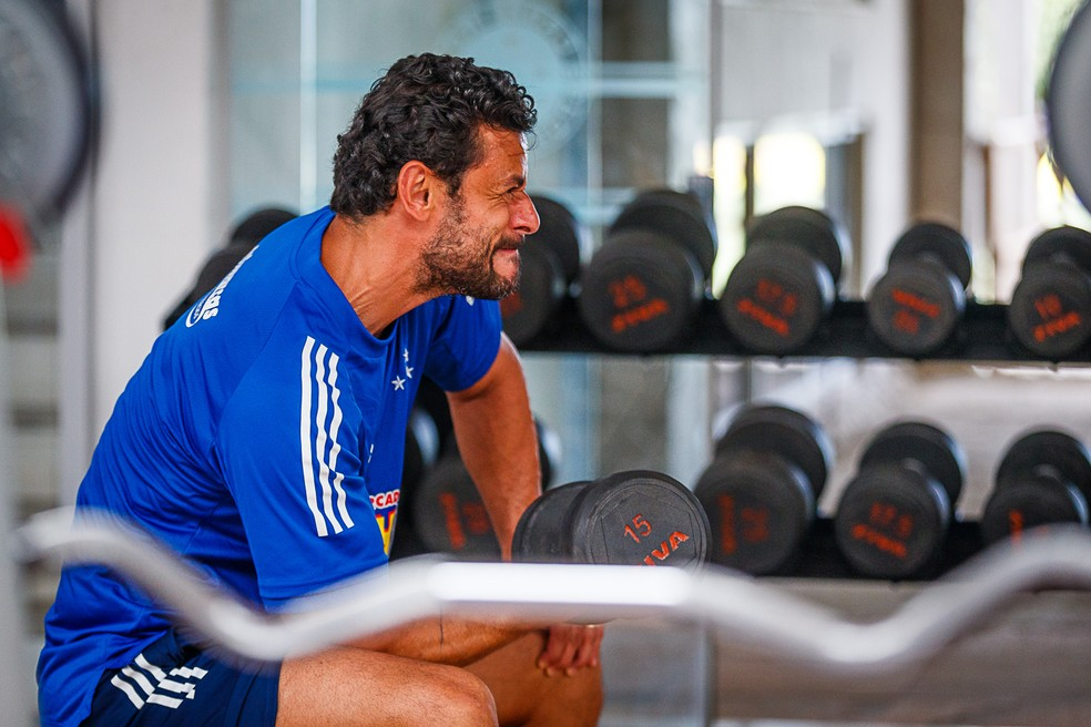 Fred durante treino no Cruzeiro na Toca da Raposa — Foto: Vinnicius Silva/Cruzeiro