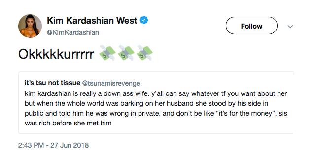 A resposta de Kim Kardashian às pessoas que a acusam de estar com Kanye West pelo dinheiro do marido (Foto: Twitter)
