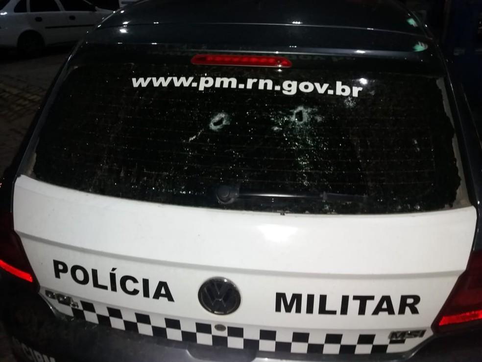 Sargento que estava na viatura foi baleado pelos bandidos na BR 226, no RN â?? Foto: Redes Sociais