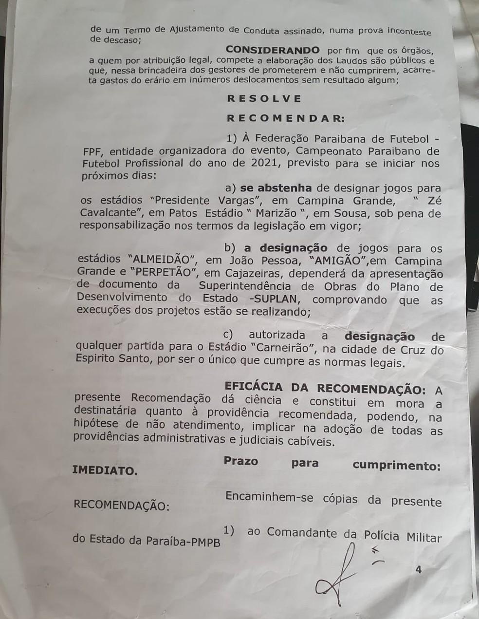 Recomendação do Ministério Público da Paraíba, à FPF, sobre os estádios a serem utilizados no Campeonato Paraibano — Foto: Reprodução / MP-PB