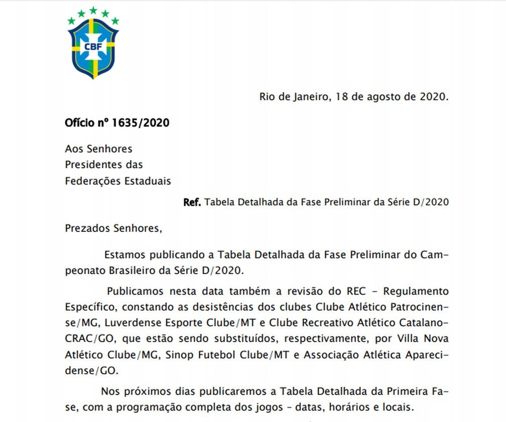 Documento CBF formaliza desistências de times da Série D 2020  — Foto: Reprodução/CBF