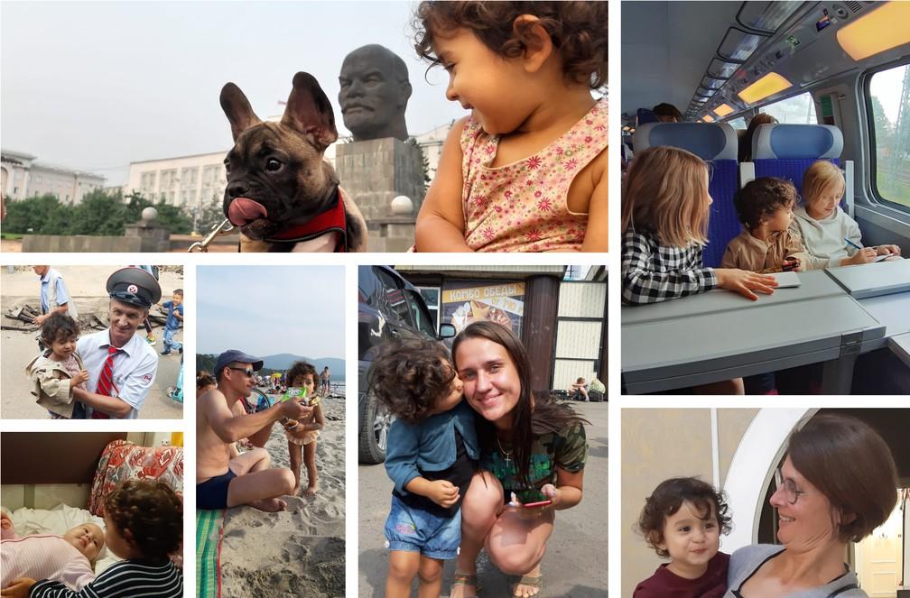 Olívia distribuindo amor para pessoas (e cachorro) desconhecidos em várias cidades da Rússia. — Foto: Arquivo pessoal/Gabriela Antunes