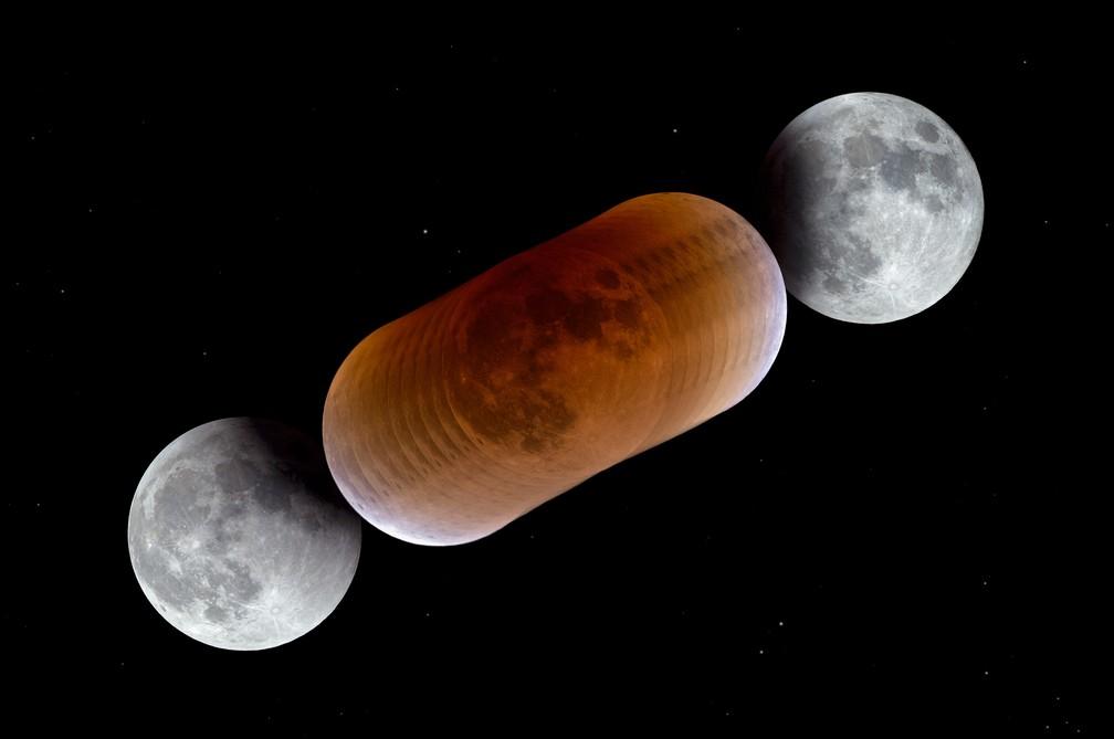 Foto mostra a Lua em diferentes fases durante um eclipse lunar total (Foto: P. Horálek/ESO)
