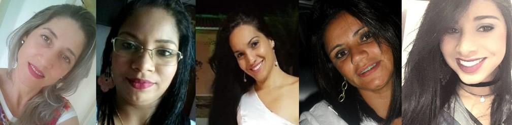 Rosane, Aline, Calliane, Necivânia e Jéssica são algumas das vítimas de feminicídio de 2019 — Foto: Reprodução/Facebook e Arquivo Pessoal