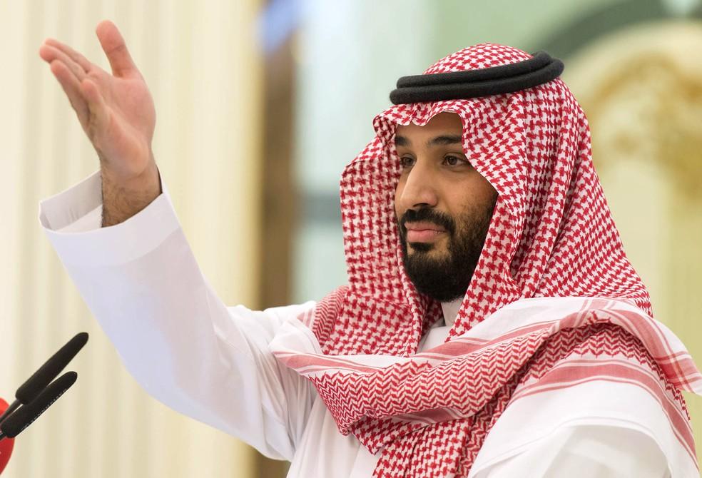 Príncipe herdeiro Mohamed ben Salman, da Arábia Saudita — Foto: Bandar Algaloud / Media Office Of Mohammed Bin Salman / AFP