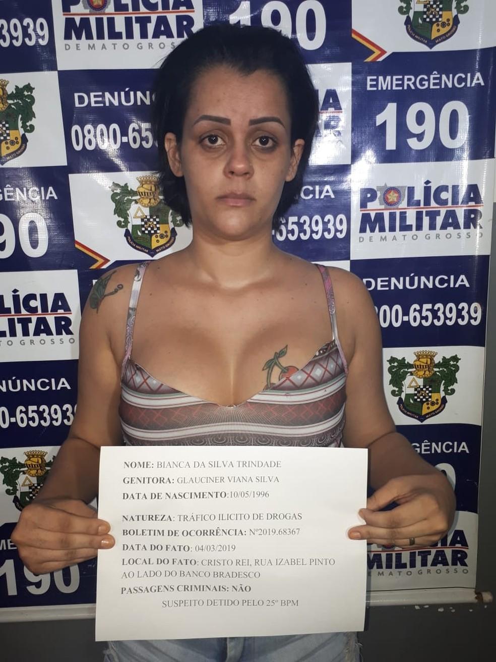Bianca da Silva Trindade foi presa pela PM. — Foto: PM-MT/Assessoria