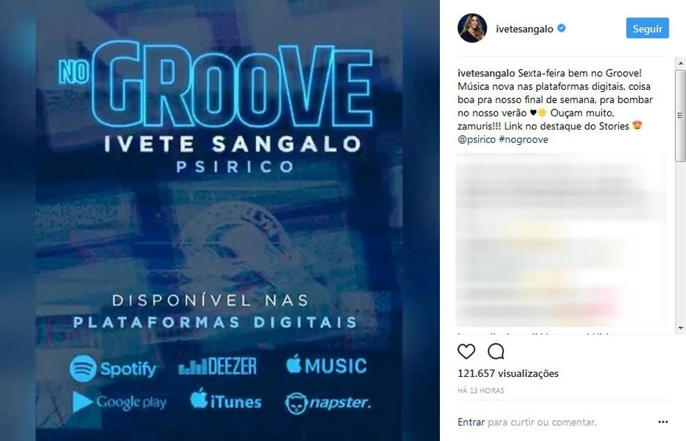 Ivete lança nova música, intitulada 'No Groove' (Foto: Reprodução/Instagram)