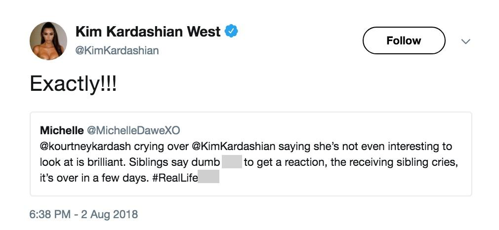 A socialite Kim Kardashian agradecendo um fã que a deu razão na briga entre ela e a irmã Kourtney Kardashian (Foto: Twitter)