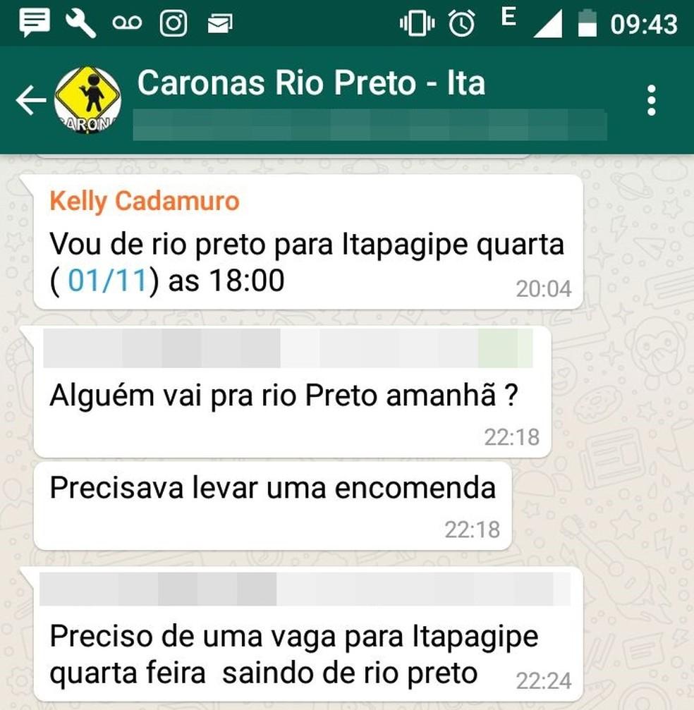 Kelly Cristina Cadamuro ofereceu carona em um grupo de Whatsapp e foi morta durante o trajeto (Foto: Reprodução/WhatsApp)