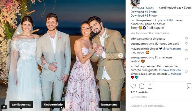 Camila Queiroz, Klebber Toledo, Caroline Queiroz e Luan Santana (Foto: Reprodução/Instagram)