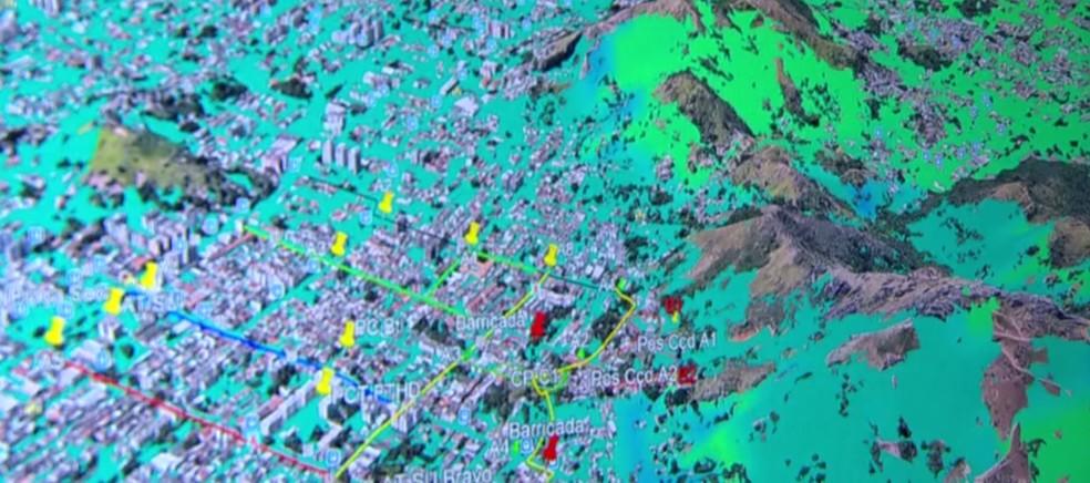 Imagens do drone ajudaram a mapear os pontos na Praça Seca (Foto: Reprodução/TV Globo)