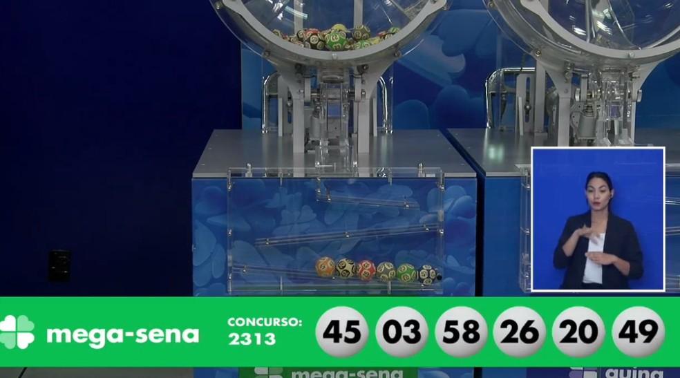 Dezenas sorteadas do concurso 2313 da Mega-Sena — Foto: Reprodução/Caixa
