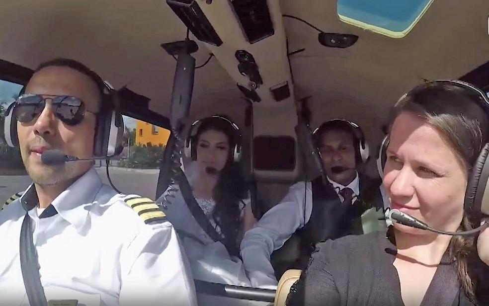Câmera filma queda de helicóptero que matou noiva em SP (Foto: Reprodução)